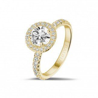 Geelgouden Diamanten Ringen - 1.00 caraat Halo solitaire ring in geel goud met ronde diamanten
