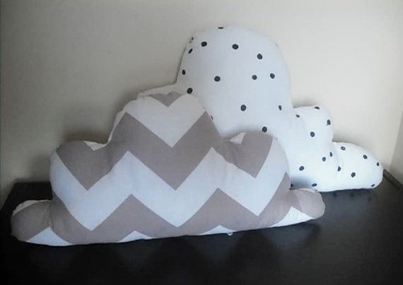 white and grey chevron cloud pillow  nusery decor child's