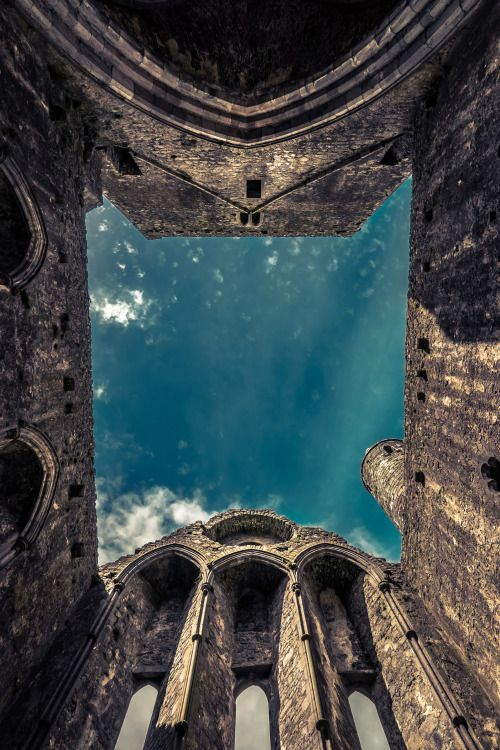 A look up at The Rock of Cashel, Ireland