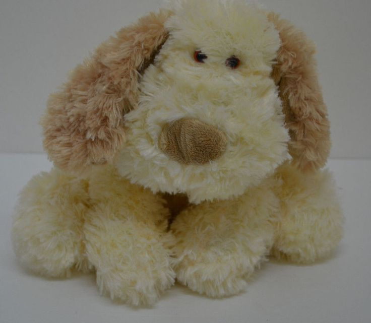 Kellytoy Puppy Dog Plush Cream Beige Curly Sitting Bean