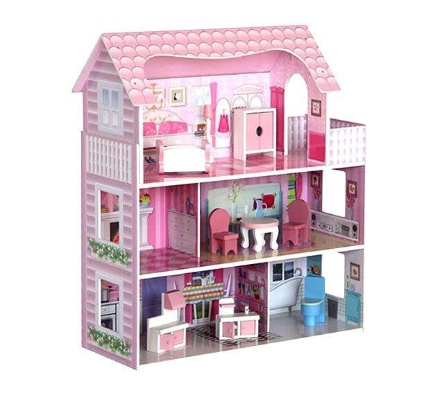 Large Children s Wooden Pink Dollhouse Fits Barbie Doll House With 8 P Furniture | eBay