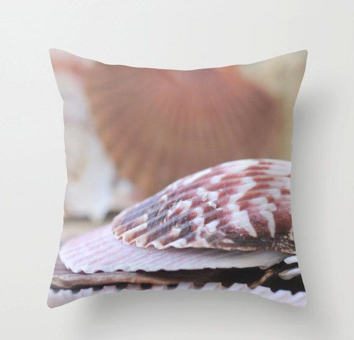 Seashell Pillow Cover, Beach House Decor, Seashell Home Decor, Seashell Pillow Case, Sea Shells, Nautical Decor, Radiant Orchid, #nautical #seashell #mollysmuses Molly O'Bryon-Welpott