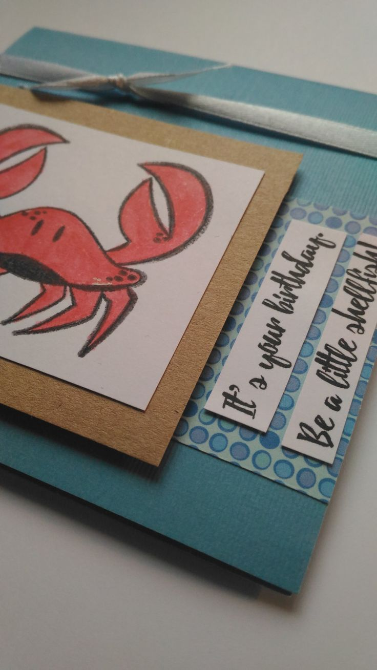 BE A LITTLE SHELLFISH: punny crab happy birthday card by teganrebecca on Etsy