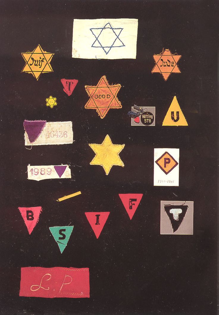 Badges worn by prisoners at the Nazi Concentration Camps. The display is at the Holocaust Museum in ashington D.C.