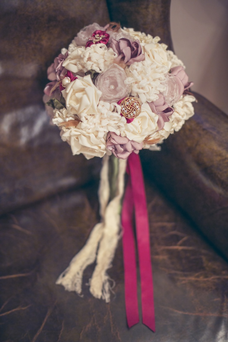 Fabric flower wedding bouquet by Mark the Occasion Designs, Photography by Roberta Rae Photography   Alternative Wedding Flowers, Fabric Corsages, Mala Beads in Weddings, Bridesmaid Alternatives