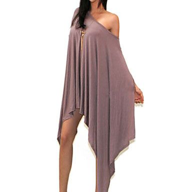 Asymmetrisk Halvlange ermer Dress Drapering Bomullsblandinger Kvinner 2016 – kr.114
