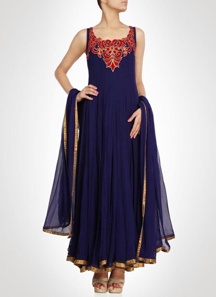 Navy #Blue Ankle Length #Anarkali Suit