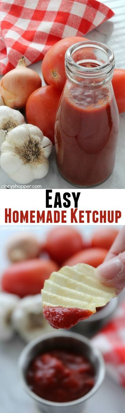 "Easy Homemade Ketchup- Super simple ketchup recipe that uses tomato paste for a base. Perfect for when you are ""fresh out"" of ketchup."