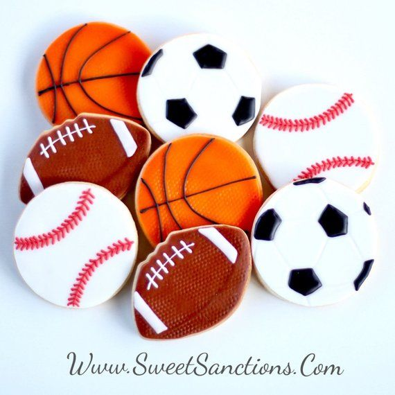 Half Dz Sports Balls Cookie Set Pick One Or All Themed Birthday Party Favors Basketball Football Baseball Soccer Team Gifts Sports Themed Birthday Party Sports Theme Birthday Sports Lover
