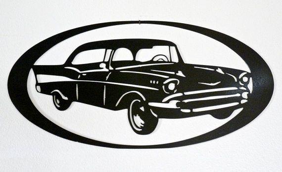 1957 Chevrolet  sticker  métal Art  Home Decor par MegaMetalDesigns