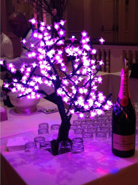 Plug in led light up pink cherry blossom trees make lovely for Lighted centerpieces