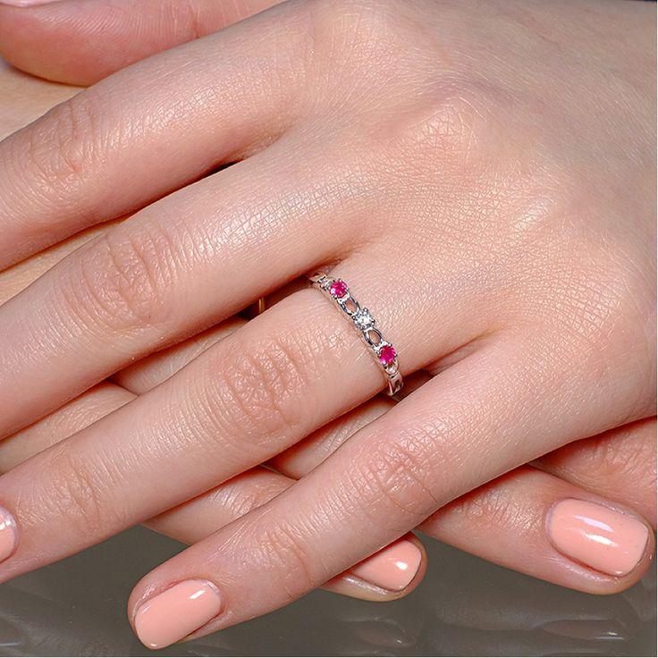 Inel din aur, cu diamant si rubine II Cod produs: i094DiRb