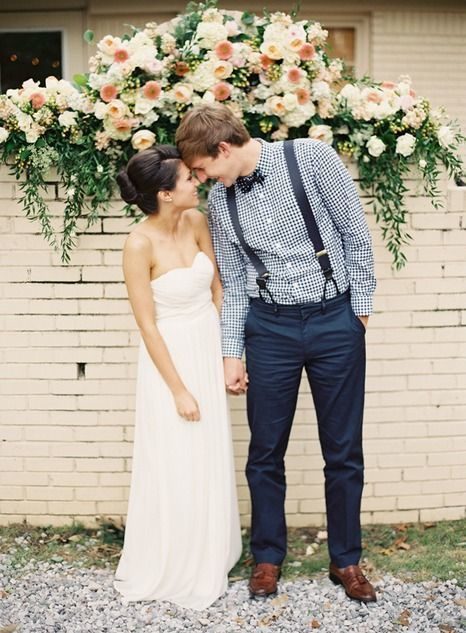Add Some Patterns: A checkered shirt for the groom would greatly complement your summer wedding. Using a navy blue color (instead of the more typical black or gray) adds to the laid back feel of a casual, warm-weather wedding while still remaining dressy and classy.