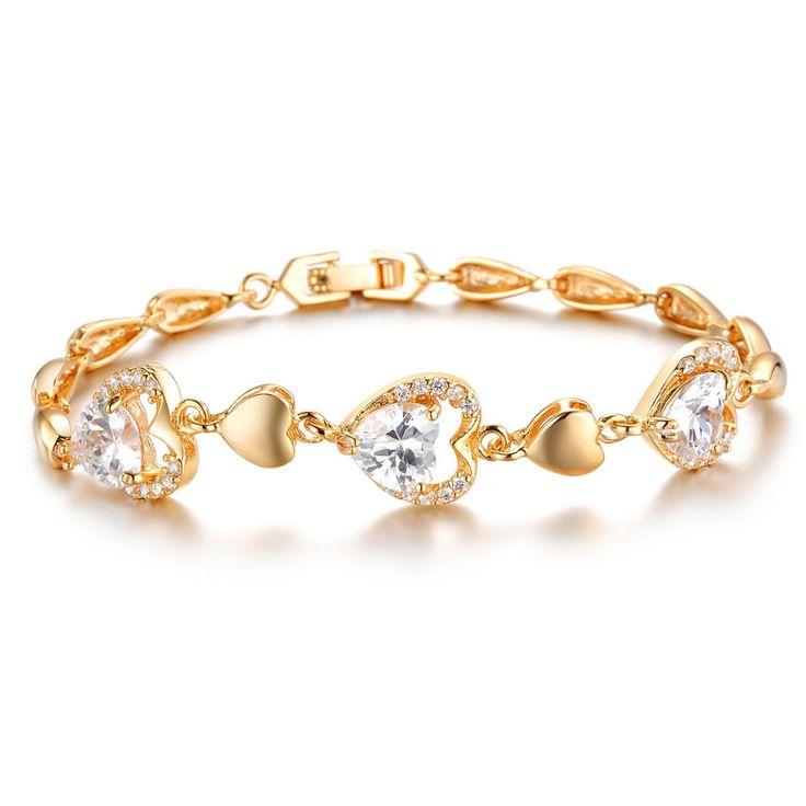 Сердце Любовь Золотые Браслеты 18 К Настоящее Позолоченные Новое Сердце кристалла для Женщин 19 СМ adies Сияющий AAA Кубической Кристалл Циркона ювелирные изделия
