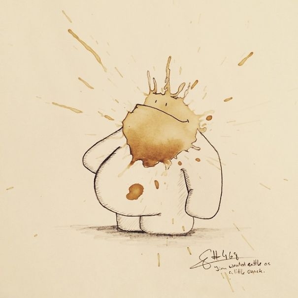 On the Creative Market Blog - This Guy Turns Coffee Stains into Little Monsters and It's Awesome