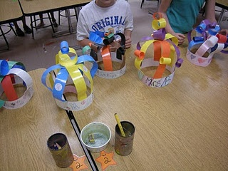 Paper hats using sticky tape.