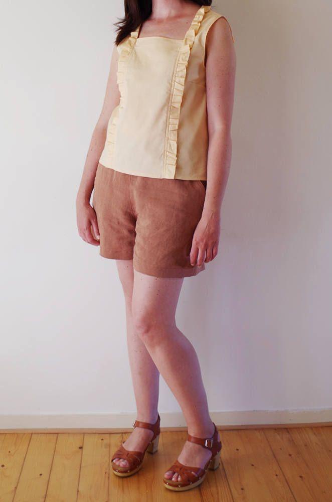 blusa in cotone con rouches color pesca / top senza maniche / maglia scollo quadrato / fatto a mano di Pochettecouture su Etsy