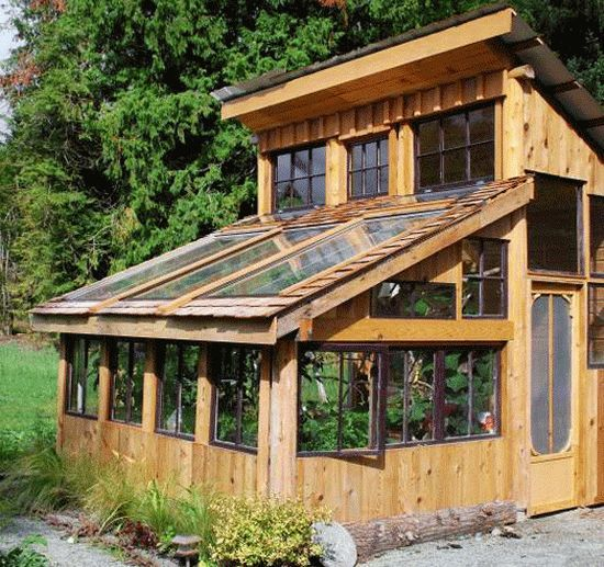 This site has several great greenhouse ideas, including a greenhouse made out of windshields.