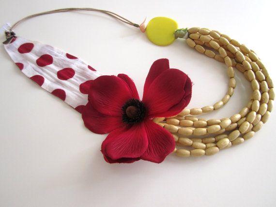 Poppy Flower Necklace Red Flower Necklace by catyflowerpower, $31.00