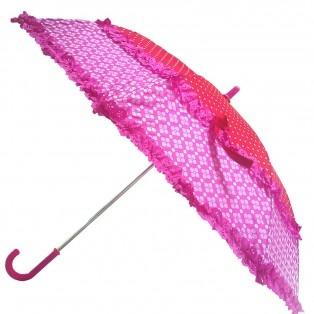 Nieuw bij www.tootz.nl, hippe paraplus! Accessoires : Zebra Trends paraplu Roze met Rafels