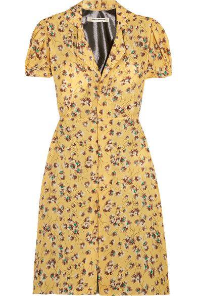 Junya Watanabe - Floral-print Chiffon And Lamé Dress - Pastel yellow -