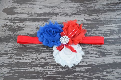 red, white, and blue triple shabby flower headband sold by Chloe's Closet Bowtique. Shop more products from Chloe's Closet Bowtique on Storenvy, the home of independent small businesses all over the world.