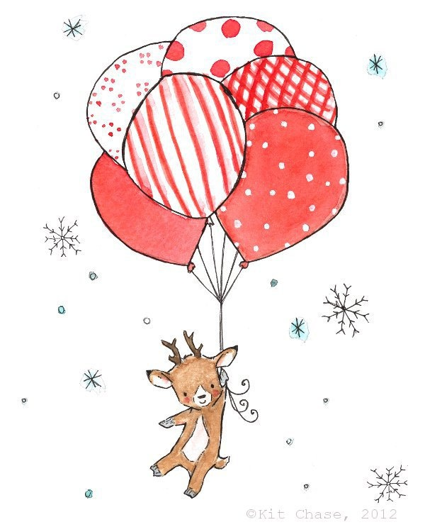 Children's Art - Baby's First Christmas -8x10 Art Print. $20.00, via Etsy.