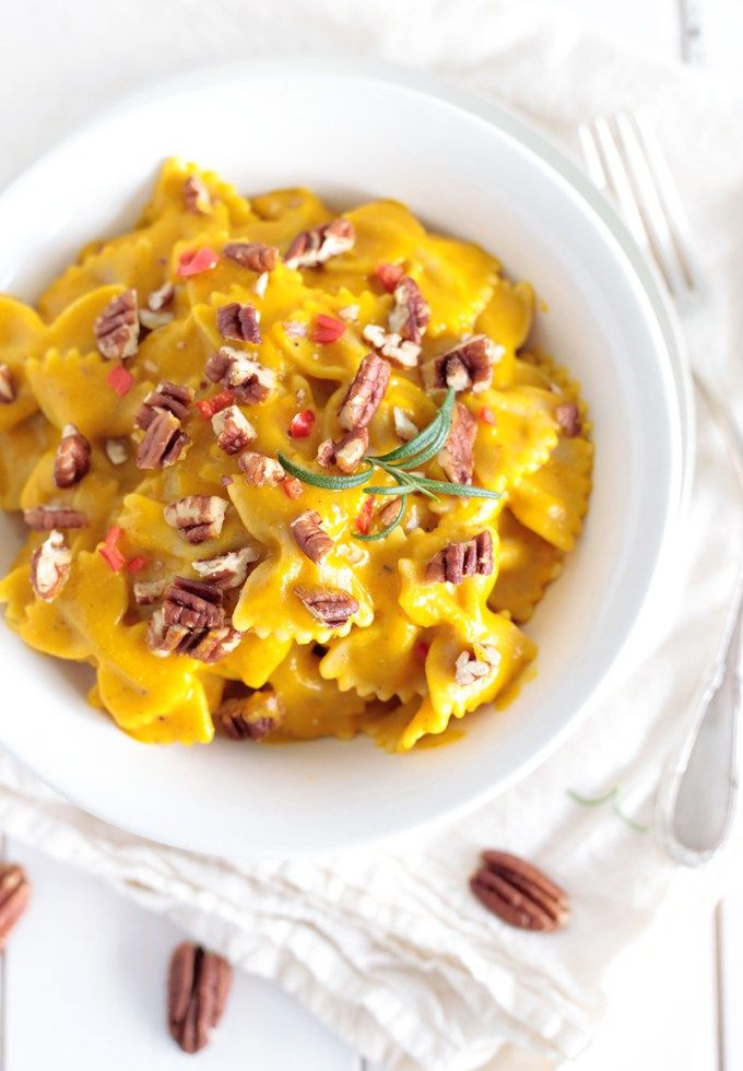 creamy butternut squash pasta with pecans more pecans green green evi ...