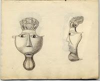 De mystiske ansiktsmaskene fra Avaldsnes. En teori går ut på at de kan ha vært funnet i Kjellerhaugen. Maskene er blitt borte, bare skisser er bevart...