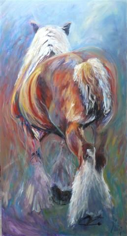 """Horses: """"Willem 4""""  Oil painting by Cath Driessen """"Stops"""" 80 x150 cm www.cathdriessen.nl/ https://www.facebook.com/pages/Cath/447137662037857"""