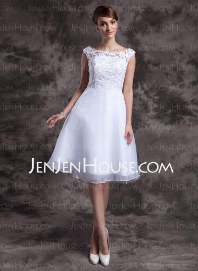 Wedding Dresses - $128.69 - A-Line/Princess Scoop Neck Knee-Length Organza Lace Wedding Dresses (002015023) http://jenjenhouse.com/A-Line-Princess-Scoop-Neck-Knee-Length-Organza-Lace-Wedding-Dresses-002015023-g15023