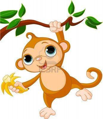 Schattige baby aap op een boom met banaan  Stockfoto