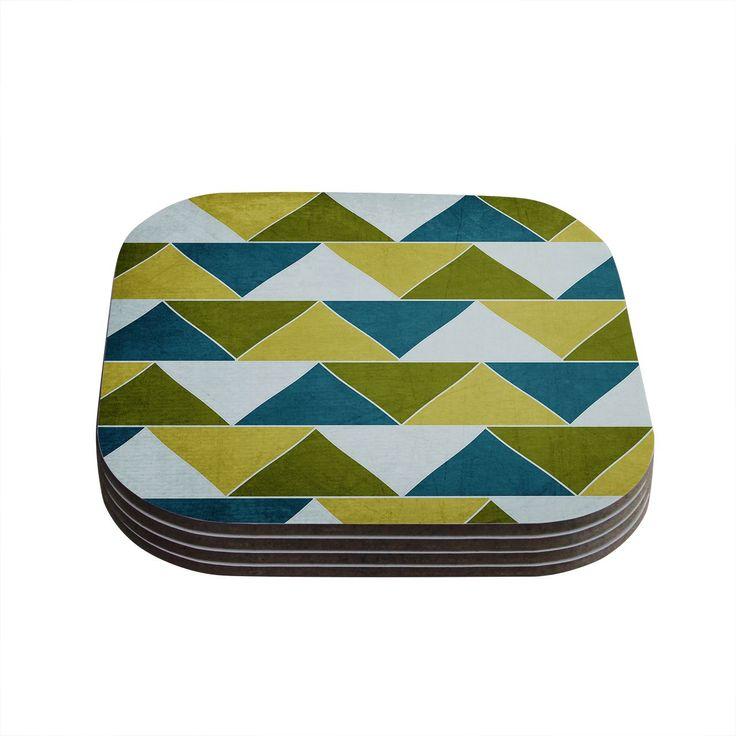 Kess InHouse Catherine McDonald 'Mediterranean' Coasters (Set of 4) (Mediterranean), Blue (Wood)