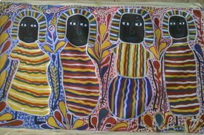 """Saint Soleil school  Louisianne St Fleurant  30"""" X 50""""  Acrylic on Cavas"""
