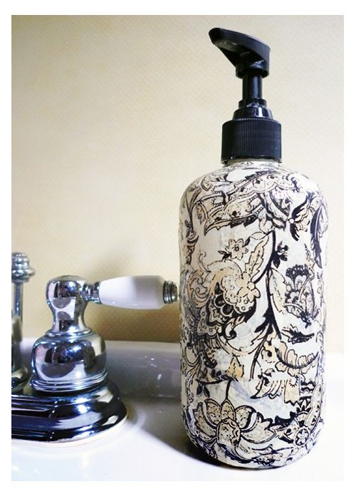 Decopatch Soap Dispenser - no more plain soap dispensers! http://www.ornamentea.com/TheShop/TutorialPages/DecopatchSoapDispenser.html#