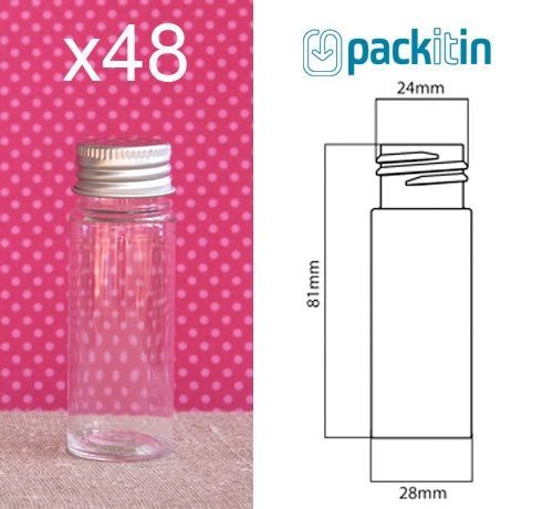 48 X 30ml Clear Plastic Vials Flat Bottom Test Tubes Brand NEW Screw TOP LID | eBay