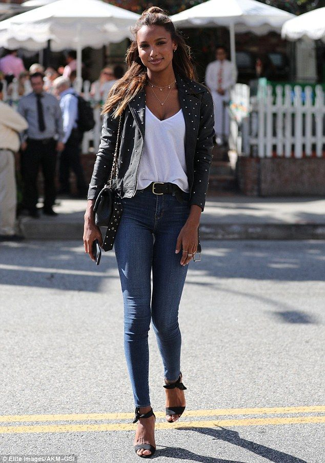 Gorgeous lady: on Wednesday, model Jasmine Tookes made the sidewalk her runway while heading to lunch at The Ivy in West Hollywood