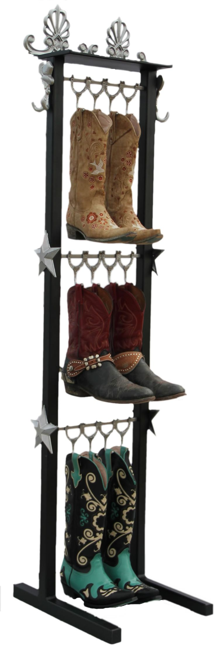 Beautifully crafted western style boot racks organize and display several pairs of boots, belts, hats and anything you can pull out of your pockets.    Made of steel and powder coated, with the look and feel of fine furniture, they are durable and versatile.    For your home entrance, tack room, barn, or horse trailer this rack will hold a multitude of items, not just boots.  www.BuildAbootRack.com