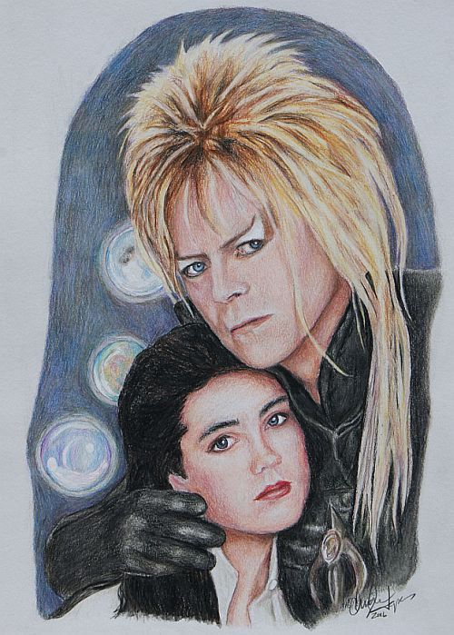 Items Similar To Labyrinth Jareth And Sarah David Bowie Print Of Colored Pencil Drawing On Etsy