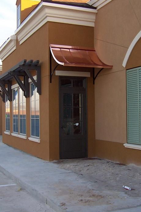Copper Awning Over Front Door And Wood Awnings West Facing Windows