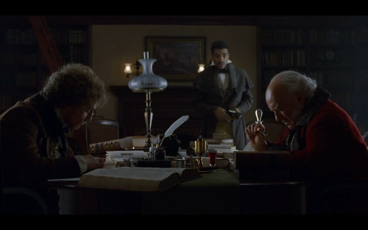 Roger Sherman Baldwin (Matthew McConaughey), Ensign Covey (Chiwetel Ejiofor) and John Quincy Adams (Anthony Hopkins) in 'Amistad' (1997, S. Spielberg)