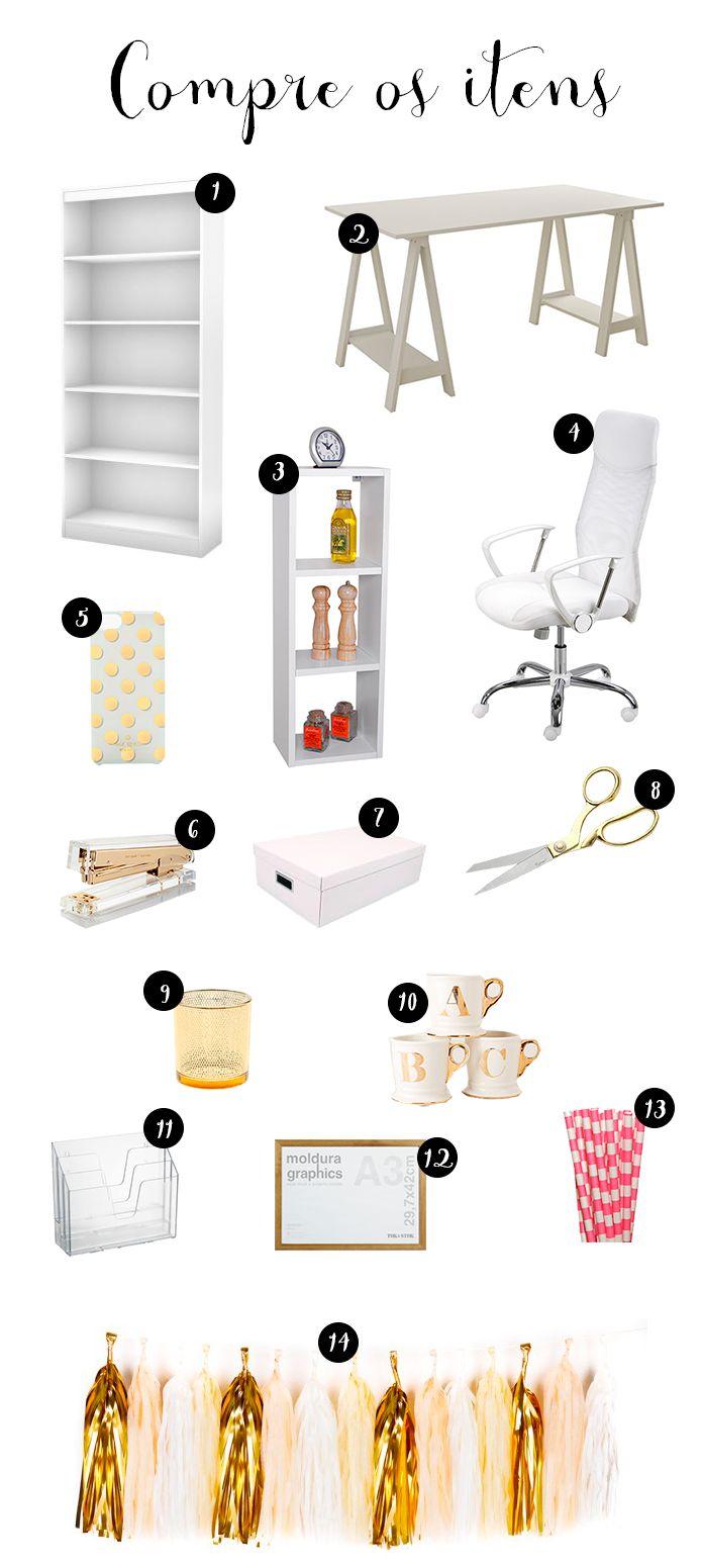 Para copiar: home office feminino com branco e dourado | O Mundo de Jess