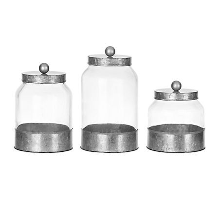 Galvanized Metal and Glass Canisters, Set of 3 | Kirklands