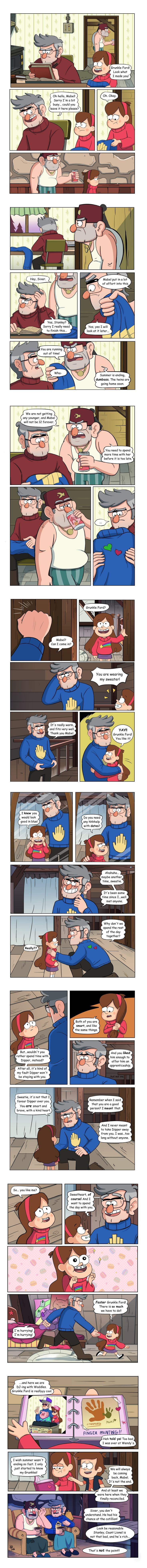 Mabel and Ford vs the Future: Complete Finally finished the comic! Mabel and Ford (with a little help from Stan) understand each other a little better before the end of summer. A take on Ford and Mabel bonding, as there was precious little of it in the series.