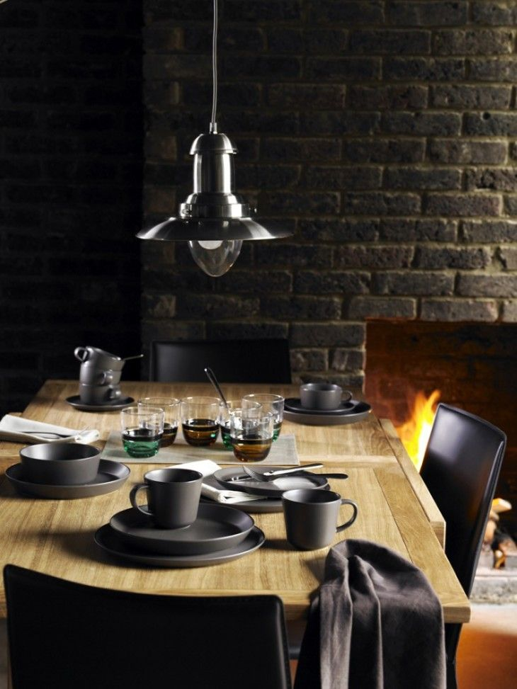 Comfortable Masculine Dining Room With Exposed Black Brick Walls - pictures, photos, images