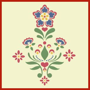 Rosemaling, kurbit stencils from Norway and Sweden. Idea for arches in dining and living rooms
