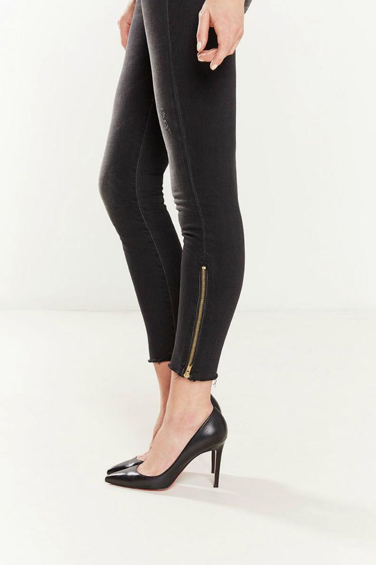 Love the gold zipper detail on these skinny jeans. We would totally live in these through spring | Looker Zipper Fray Denim