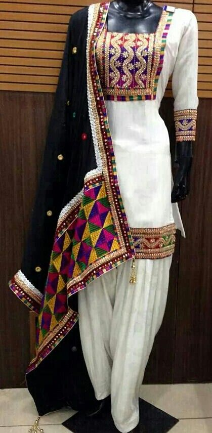 white and black salwar kameez