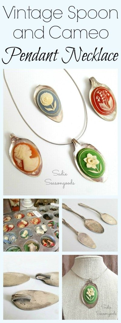 I just LOVE a good statement necklace...and I made an entire set of them by repurposing a vintage silverplate spoon into a flattened pendant and adding a retro (dead stock) cameo cabochon. It's easier than it looks- and I got to use an anvil! I love how each one is unique and one-of-a-kind. Fun DIY upcycle / repurpose jewelry craft project from #SadieSeasongoods / www.sadieseasongoods.com