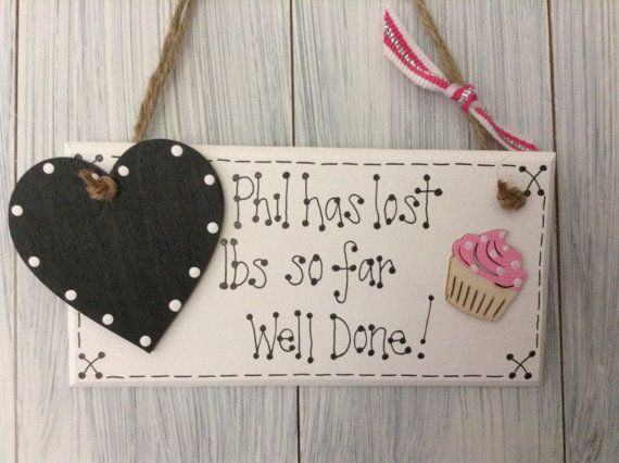 Personalised Weight Loss plaque sign. Weight by UntutoredTillyCat, £5.50